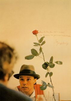 "Joseph Beuys  We Won't Do It without the Rose  (Edition of 80)  31 1/2"" by 22""    color offset, handwritten text/cardstock  1972"