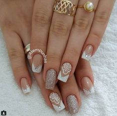 Ideas for nails art wedding ongles Bride Nails, Prom Nails, Wedding Acrylic Nails, Trendy Nail Art, Fabulous Nails, French Nails, Nail Manicure, Simple Nails, Nails Inspiration