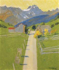 Albert Pfister (Swiss, 1884-1978), WEILER IM GLARNERLAND, n/d, oil on cardboard, 54.5 x 45.5 cm