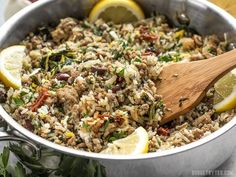 Everything cooks together in one pot for this fast and easy Greek Turkey and Rice Skillet, creating big flavor without a lot of fuss. Cooking For A Crowd, Cooking On A Budget, Budget Meals, Cooking Tips, Cooking Recipes, Healthy Recipes, Budget Recipes, Fast Recipes, Healthy Foods