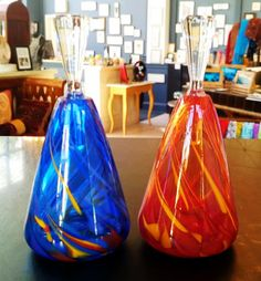 Blown-glass perfume bottles from Rosetree Glass Studio in New Orleans.