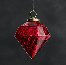 These are great to decorate with because of the intense color and no rolling around. Vintage Hand-Blown Glass Ornament Octagon - Red
