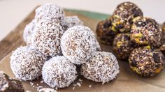 COCONUT BLISS BALLS      60 g whole shelled almonds  25 g cashews  125 g pitted dates  1 lime  1 pinch of salt  30 g desiccated coconut