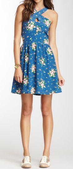 Criss Cross Floral Dress + oxfords