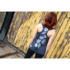 Women tank top, Grey top, Top with leaves, Foliage, Hand painted... (110 PLN) ❤ liked on Polyvore featuring tops