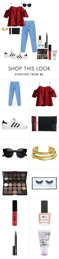 """""""Sans titre #198"""" by adeline-m ❤ liked on Polyvore featuring Anna October, adidas, Tomasini, Elizabeth and James, Huda Beauty, NYX, ncLA, NARS Cosmetics and too cool for school"""