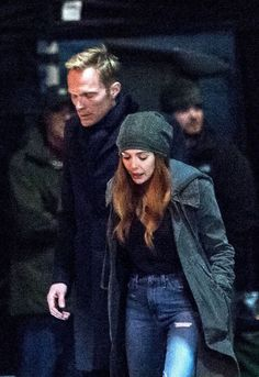 Elizabeth Olsen as Wanda Maximoff and Paul Bettany as Vision on the set of Avengers: Infinity War, in Edinburgh, April 21st.
