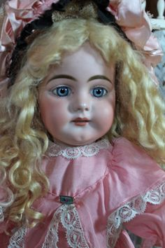 Fabulous Simon Halbig 739 Character Child! Beautiful early spiral blue paperweight eyes, open mouth, early straight wristed body. From Victorian Retreat Antique Dolls. #DollShopsUnited