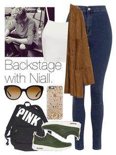 """Backstage with Niall."" by welove1 ❤ liked on Polyvore featuring Topshop, Victoria's Secret, Pull&Bear, Zara, NIKE, Casetify and Versace"