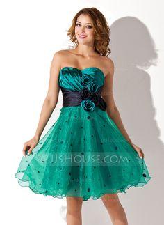 Homecoming Dresses - $114.99 - Empire Sweetheart Knee-Length Organza Charmeuse Homecoming Dress With Ruffle Sash Flower(s) (022021006) http://jjshouse.com/Empire-Sweetheart-Knee-Length-Organza-Charmeuse-Homecoming-Dress-With-Ruffle-Sash-Flower-S-022021006-g21006?ver=1