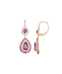 David Tutera Amethyst & White Sapphire Pear-Cut Halo Drop Earrings | zulily  . $59.49 Compare at $200.00  Product Description:  From the stunning collection of David Tutera, these gem-encrusted drop earrings transform your ensemble in to a captivating and sophisticated statement.      37.25 mm L x 12.25 mm W     14k rose gold-plated silver / amethyst / lab-created white sapphire     Imported