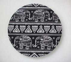 Mouse Pad mousepad / Mat - Rectangle - aztec boho Elephants black white cubical desk office accessories coworker teacher gift