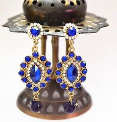 Gold tone chandelier earrings royal blue by BeautifulByBetter