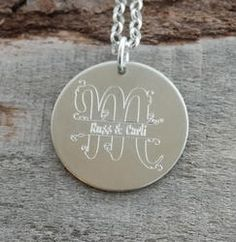 Large Initial with Names Personalized Necklace - Engraved