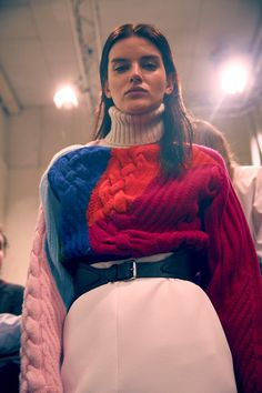 More cable knit #backstage at Iceberg AW15 #knitwear