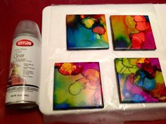 USE a spray sealer to coat the tile surface after alcohol inks applied
