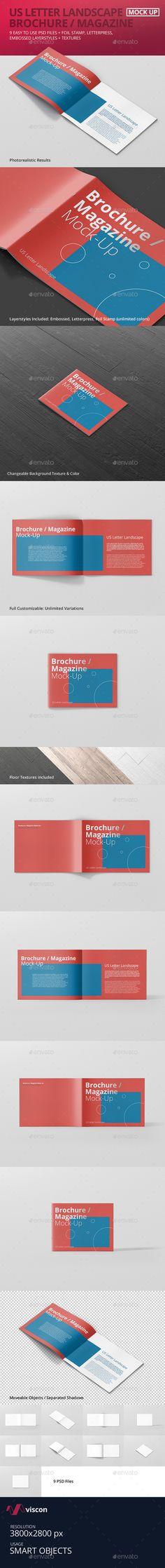 US Letter Landscape Brochure / Magazine Mock-Up #design #graphicdesign #mockup #photoshop #print #magazine #editorial #brochure