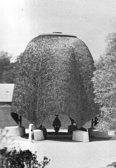 PHILIP JOHNSON ROOFLESS CHURCH IN NEW HARMONY, INDIANA, 1960
