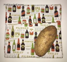 Microwave Baked Potato Bag Tortilla Warmer/Trivet/Pot Holder/ Bread Warmer Craft Beer Theme by KatyTrailCreations on Etsy