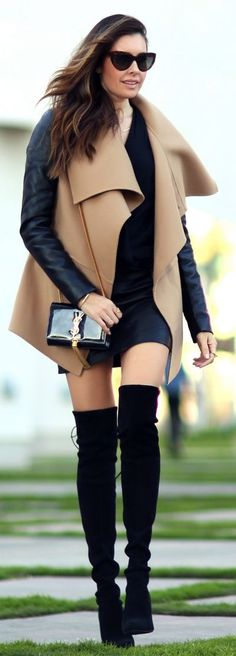 Wrap coat and over the knee boots