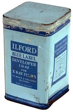 Ilford Blue Label Developer, I.D. 42, for processing of x-ray films. Made by Ilford Limited U.K., circa 1950. Collection: Museum Victoria      Used for the development of x-ray films at a mental hospital in Victoria, Australia.