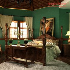 contemporary-bedroom-with-wood-floor-gray-bed-cover-and-dark-green