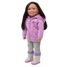 Clam Digger: Saila and her family dig for clams when the tide is low, so rubber boots are a must-have! Saxifrage flowers decorate the front and across the back of the zip-front hoodie, as well as the hood lining. Paired with corduroy pants, this outfit is comfy and casual.