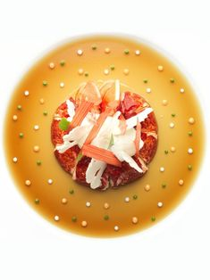 Lobster, rhubarb crisps, tomato gelée, and passion fruit sauce by Bernard Pacaud of L'Ambroisie. © Nicolas Buisson - See more at: http://theartofplating.com/editorial/nicolas-buisson-at-the-crossroads-of-architecture-and-luxury/