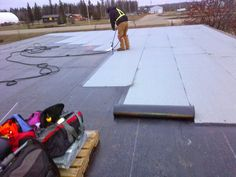 Roofing Project in Progress, High Level Alberta, Canada. 2 Ply SBS Modified Torch On Commercial Flat Roof Installation  #Roofing #CommercialRoofing #HighLevel #FlatRoofing. High Level Roofing Contractors | General Roofing Systems Canada (GRS): High Level Alberta Roofing and Exterior Renovation Contractors, Roof Repair, Roofing, Flat Roofing, Shingles, Siding, Gutters, Sheet Metal, Coatings, Roof Snow Removal, Commercial, Residential | www.grscanadainc.com | +1.877.497.3528 Toll Free
