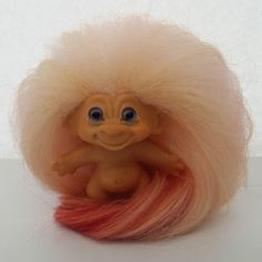 Vintage 1960's DAM Troll Doll Apricot Peach Strawberry Pink Mohair Blue Eyes #Dam #Dolls