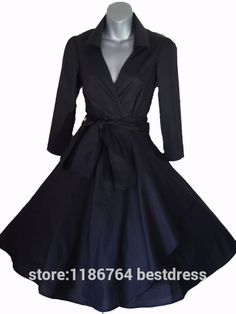 Vintage Style Rockabilly / Swing / Pin up Cotton Wrap Evening Party Cocktail Dress SIZES 4 - 28 Retro Wedding Dresses, 1940s Dresses, Old Fashion Dresses, Size 16 Dresses, Little Dresses, Dresses Online, Swing Dress, Dress Up, Jupe Swing