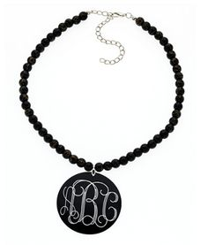 Monogrammed Black Round Single Strand Necklace Set | Custom Jewelry