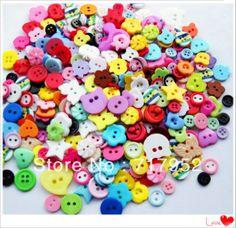 Free shipping!100 pcs Lots mix Assort Plastic Buttons Scrapbooking Sewing Craft Appliques F647