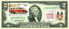 $2 DOLLARS 2009 STAMP CANCEL ANTIQUE CAR, AUTO BUS LUCKY MONEY VALUE $115