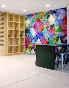 Office Fit Out - Office Design - Boardroom - Digital Wall Covering - Rebel Walls - Colourful - OSB - Shelf - Pigeonhole - Tolix Stool - Breakout Space - Canteen - Counter - Spark Market Research, Dublin by Think Contemporary