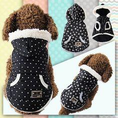 クールなデザインs/m/l/xl ponitまたはスター柔らかい綿混紡冬暖かいペット防風服犬の冬ジャケットコート犬服