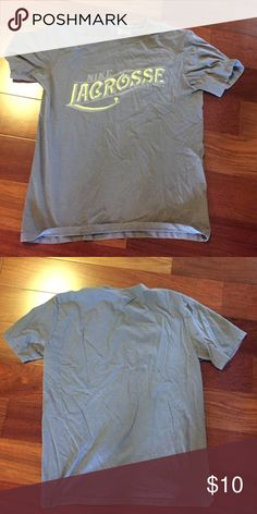 Mens L Nike lacrosse tshirt Grey with neon yellow words-great condition! Nike Shirts Tees - Short Sleeve