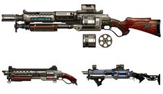 View an image titled 'Combat Shotgun Art' in our Borderlands art gallery featuring official character designs, concept art, and promo pictures. Steampunk Weapons, Sci Fi Weapons, Weapon Concept Art, Fantasy Weapons, Weapons Guns, Guns And Ammo, Armes Concept, Rifles, Combat Shotgun