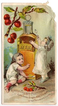 AYERS Cherry Pectoral* Cures Colds Coughs & all Diseases of the Throat and Lungs *1. Relating to or situated in the breast or chest: a pectoral muscle; the pectoral cavity *2. Useful in relieving disorders of the chest or respiratory tract TRADE CARD
