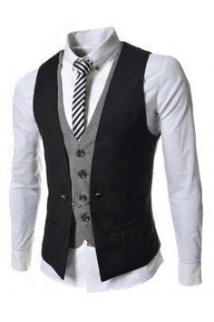 Black Double Layered Chain Suit Vests