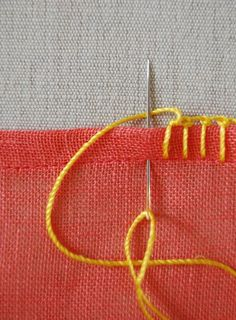 Molly's Sketchbook: Mother's Day Embroidered Scarves - The Purl Bee - Knitting Crochet Sewing Embroidery Crafts Patterns and Ideas! Tutorial on how to do several kinds of blanket stitches.Three different blanket stitches.also used to attach crochet edging Sewing Stitches, Hand Embroidery Stitches, Crochet Stitches, Cross Stitch Embroidery, Embroidery Designs, Sewing Patterns, Knitting Patterns, Embroidery Tattoo, Embroidery Stitches