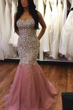 Luxury beads Custom Charming Pink Tulle Prom Dress,Shining Beading Evening Dress,Sexy Sweetheart formal Dress,cheap Sexy Backless Prom Dresses,Beading Evening Dress, Prom Dress, formal dresses,Wedding guests dresses