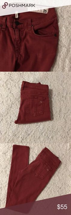 🍭RAG & BONE 'LEGGING' JEANS SZ 25 EUC🍭 Rag & Bone 'Legging' jeans in a size 25' with a 29' inseam. The color is 'clay' & is a rust color. Slightly lighter in person. The composition of the jeans is: 55% cotton 42% tencel & 3% spandex. These are pre loved, but are in great condition & have no flaws. Questions, or pics, let me know! Offers will be considered, make one!! Thank you- rag & bone Jeans Skinny