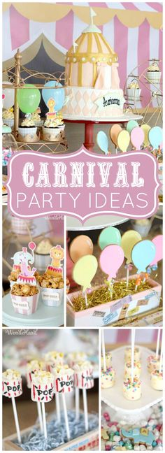 Check out this carnival party with a fabulous circus tent birthday cake! See more party ideas at CatchMyParty.com!