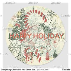 Everything Christmas Red Green Ecru Holiday Classic Round Sticker Holiday Gifts, Holiday Cards, Christmas Cards, Gift Wrapping Paper, White Elephant Gifts, Round Stickers, Custom Stickers, Red Green, Christmas Holidays