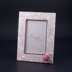 4 x 6 Mother of Pearl Rose Turtle Picture Frame Featuring Swarovski © Crystals