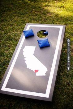 corn hole game with state logos   VIA #WEDDINGPINS.NET