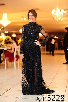 ae035bd2b6948 Bead Lace Black Mother Of The Bride Dresses Long Sleeve Evening Gown Custom