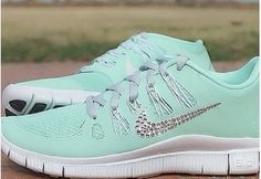 Swarovski Crystal Nike Free 5.0 Tiffay Blue Bling Tick Shoes 2015