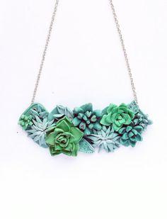 Ожерелье, Бусы, Колье, суккулент, суккуленты, кактусы, ожерелье кактусы, украшения из полимерной глины, crassula, бижутерия, бусы микс